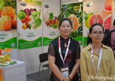 Cai Youcai and Maggie Huang from Zhangpu Yicai Fruit&Vegetable Co.,Ltd. They are specialized in fresh fruit & vegetable of plantation, processing,harvest, storage and export. Main products are pomelo, mandarin, orange, carrots and cabbage.