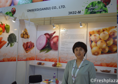 Lili Yan , Manager, From Uniseed (Gansu) Co., Ltd. Producer and seller of fresh fruits and vegetables. Their main products consist of apple, pear, linze, jujube, grape, onion, sweet potato and potato.