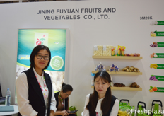 Amy Zhang and her colleague from Jining Fuyuan Fruits & Vegetables Co., Ltd.
