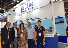 Mr Chen Boqi from Shekou port (2nd from the left) is receiving visitors at the booth.