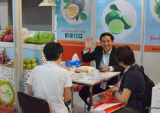 Mr Phan Vu Hoang from FRESHFRUITis receiving visitors at the booth. The company supplies a wide variety of fresh fruits from Vietnam, including mangos, dragon fruits, passion fruits and coconuts.