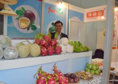 A sales representative at Freshfruit booth.