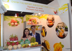 Mr Ngo Tuong Vy and his colleague from GHANH THU. The company supplies a variety of fruits from Vietnam.