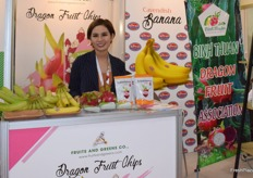 Mrs Demy from Fruits and Greens Co. The company supplies a variety of fresh fruits and dragon fruit chips from Vietnam.