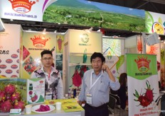 Mr Tran Ngoc Hoang and his colleague from Queen Farm. The company supplies fresh dragon fruit from Vietnam.