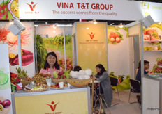 Mrs Tram Tran of VINA T&T GROUP. The company supplies a variety of fresh fruits from Vietnam.
