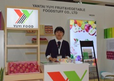Mrs Jennifer Wang (general manager) at Yantai Yuyi Fruit & Vegetable foodstuff Co., Ltd. Apple is their main product.