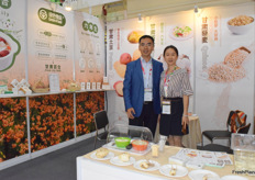 Mr Raymond Ren (left) and Mrs Jing (right) of Gansu Baiheyuan Ecological Agriculture Co., Ltd. The company has a production base in Gansu province. Their main products including sweet lily and potato.