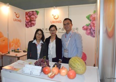 Mrs Liu Fangyuan (middle) and her colleagues are presenting at the booth(Shenzhen Uking Fruit Produce Co., Ltd)