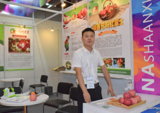 Mr Licheng from Jibin Fruit Co., Ltd. Heyang apple is their main product.