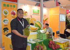Mr Adrian Yoong from TRL SDN BHD TROPICAL RESOURCES (ASIA) LIMITED. The company supplies a variety of tropical fruits from Malaysia, such as durian and dragon fruits.