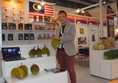 Mr T.M. MAK of Makatas Marketing (M) Sdn Bhd. The company supplies a variety of tropical fruits from Malaysia, including durian, watermelon and pineapples.