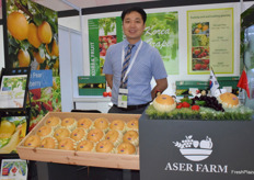 Mr Dong Ho Chang is presenting ASER FARM, the company supplies pears, grapes and strawberries from South Korea.