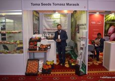 The Toma Seeds stand actually displayed a variety of products from multiple companies. Tomasz Marasik represented them all.