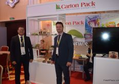 Massimo Bellotti and Massimiliano Persico of Carton Pack. They recently created new kinds of packaging using paper instead of plastic.