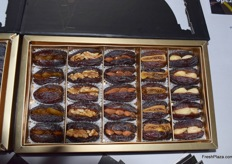 Pure Palestine works with special presentations for their dates. This packaging includes raisin-stuffed dates, walnut-stuffed dates, almond-stuffed dates, fig-stuffed dates, and cashew-stuffed dates. The company also offers chocolate-covered dates.