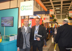 On the left is Peter Sutherland, Sales Manager and on the right is Mark Patrick Wade, Business Development for Ukrainian exporter NatureGreen coming to visit the FreshPlaza stand.