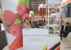 The PureBerry stand. The Serbian company deals in a variety of soft fruit.