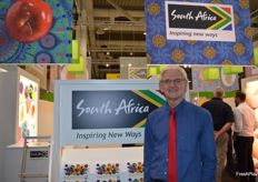 Anton Kruger CEO of FPEF at the very colourful South African stand.
