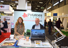 Ellen Larsen-Kouwenberg of Potatoes Canada and Ingham Jenkins of DI Jenkins and Associates. Potatoes Canada had a booth as part of the Canadian pavilion this year.