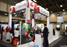 The Canadian pavilion was located in Hall 23, next to the US pavilion and near the Ecuadorian, Brazilian, and Colombian pavilions.