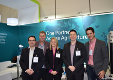Stephane Demulder, Joop Kurver, Hugo Ramos, and Philippe C. Darricerrère of IPL Marco, which was formerly known as MacroPlastics. The company's presence at Fruit Logistica was the first time they used their new brand.