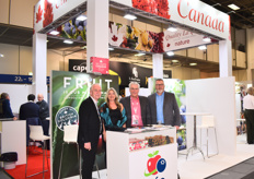 Dariel Trottier (President), Cheryl Darychuk (Category Director), Graem Nelson (Export Sales), and Bryan Key (Category Director) of CFP Consolidated Fruit Packers. The company experienced a difficult Canadian cherry season last year due to rains but is looking forward to the coming season which will start in June.