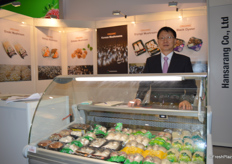 Mr Jonghae Kim of Hansarang Co., Ltd is showing a variety of mushrooms at his stand. The company has its own mushroom farm in South Korea, they mainly deal with King oyster mushroom and Enoki mushroom.