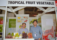 Mr Huynh Le Linhg Vu (Right) and his colleague of Tropical Fruit Vegetable Co. Ltd. The company deals mostly in passion fruit, fresh coconut, dragon fruit and rambutan.