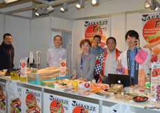 Mr Akinari Iida (general manager, 2nd on the right) is leading the Royal Co., Ltd. team. They have a small cook stand at the booth. The team is happy to see that International visitors are very interested in knowing more about Japanese fruits.