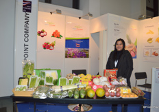 Mrs Thipsuda Promnamsub of Fresh Point Company Limited is at her booth. The company exports a variety of tropical fruits from Thailand. Thipsuda said this is a pretty good fair and she had many quality meetings with clients.