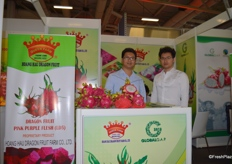 Hoang Hau Dragon Fruit Farm Co., Ltd exports a variety of fresh fruits from Vietnam, The Marketing Manager Mr Tran Ngoc Han (left) and his colleague are at the booth with their product display.