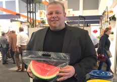 Richard Butera of Maglio Produce holding the Ready-Ripe watermelon pouch bag.