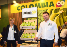 Elly De Becker and Koen Stes, representing Uniban. The company is celebrating its 50-year anniversary this year and produces both conventional and organic bananas.