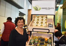 Marisol Franco of Andes Fruits. While most Colombian companies focus on exotic fruits, Andes Fruits distinguishes itself with their new product: blueberries.