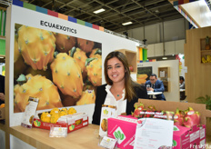Lucía Bustamente, sales manager of EcuaExotics. The company works with both the yellow and red dragon fruit.