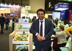 Frutesa's Commercial Officer Luis Fernando Teo. The company was part of the Guatemalan pavilion and has been in business for 37 years. They work with sugar snaps and avocados.
