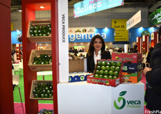 Julie Velazquez of Veca Produce, showing the companies' limes as part of the Mexico pavilion.