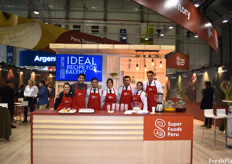 The team of chefs who prepared snacks and drinks for visitors using Peruvian foods and ingredients throughout the show.