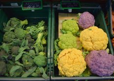 Broccoli offered in various colours.