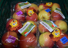 Packaged Idared and Jonagold apples in special packaging for a retailer.