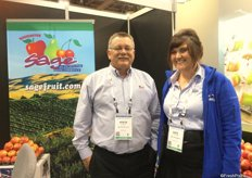 Steve Kuebler and Kaci Komstadius (right) of Yakima, Wa.-based Sage Fruit Co.