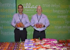 Aman Chatha and Rob Jackson with Village Farms show true rebel mix tomatoes as well as heavenly villagio marzano