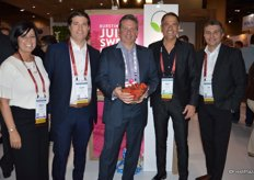 Emily Murracas, Danny Mucci, Bert Mucci and Joe Spano with Mucci Farms. In the middle, holding a bowl of Smuccies, is Dan Branson with Loblaw.