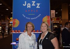 Karin Gardner with Oppy and Sandi Boyden with T&G Global promoting the refresh of the Jazz Apple