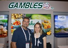 Tom Kioussis and Sarah Burroughsford with Gambles Produce