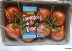 A new product from Double Diamond Farms: organic tomatoes on the vine