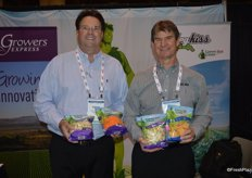 Steve Noll and Merritt Bruce of Growers Express show several new Green Giant products. Steve shows Cauliflower Crumbles Fried Rice and Sweet Potato noodles. Merritt shows the new Spaghetti Squash product that was launched at CPMA.