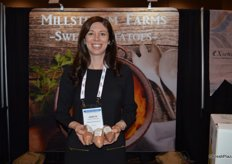 Annette Starling with Millstream Farms shows microwaveable sweet potatoes