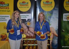 Aimee Poliquin and Heather Dunagan with NatureSweet, showing Constellation tomatoes that serve every occasion as well as Cherubs that are preferred for salads.